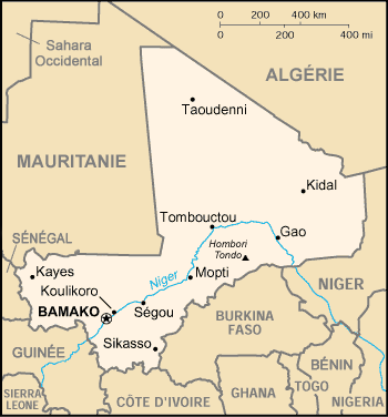 Carte du Mali. By The original uploader was Sting at French Wikipedia (Transferred from fr. wikipedia to Commons.) [Public domain], via Wikimedia Commons